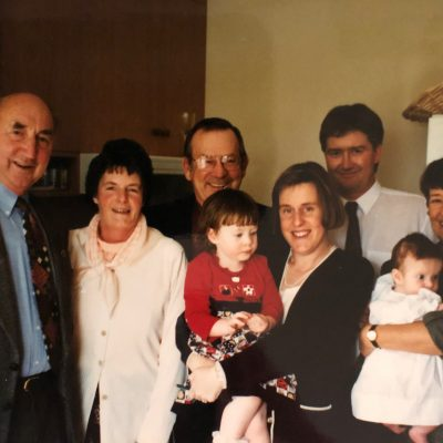 My parents and parents in law with the girls, Pete and I
